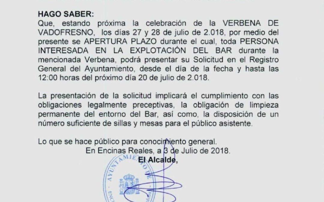 Bando: Bar Verbena de Vadofresno 2018 1