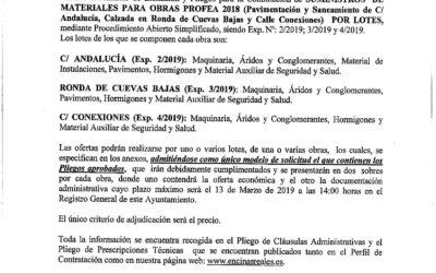 Bando Licitación Obras Profea 2018
