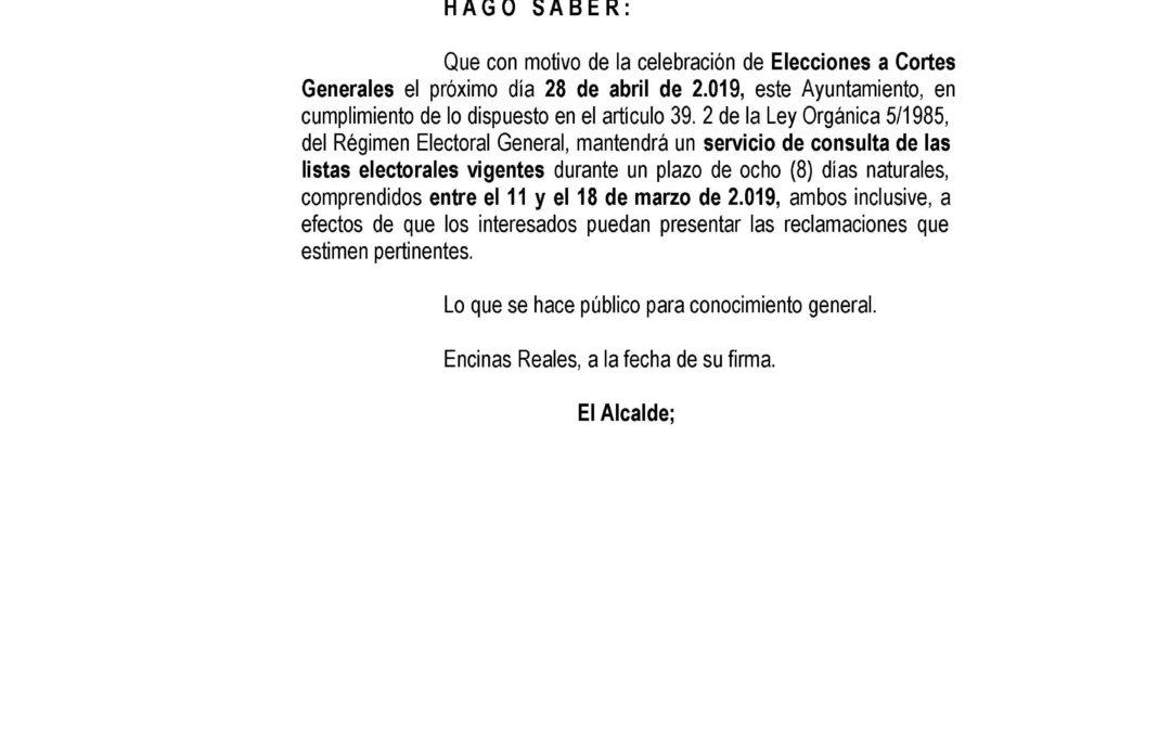 Edicto:consulta de las listas electorales vigentes 1