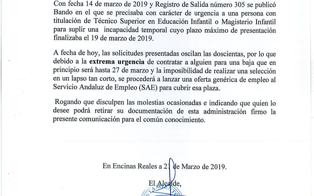 Informa: Baja I.T. Guardería 1