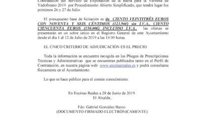 Bando Explotación de la Barra Verbena de Vadofresno 2019