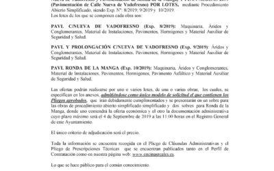 Bando Suministros Obras Profea y Plan Aldeas 2019
