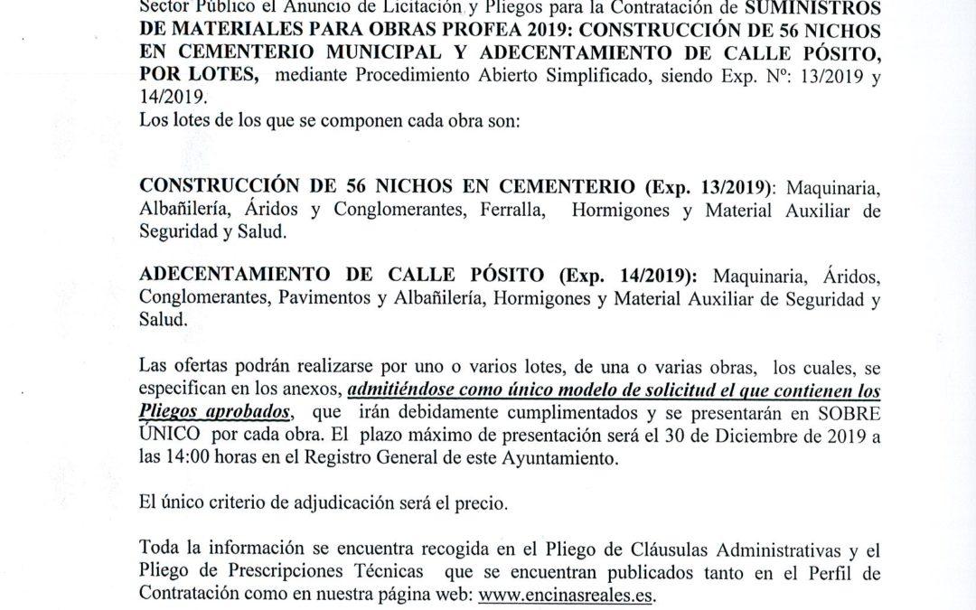 Licitación Suministros para Obras Profea 2019 1