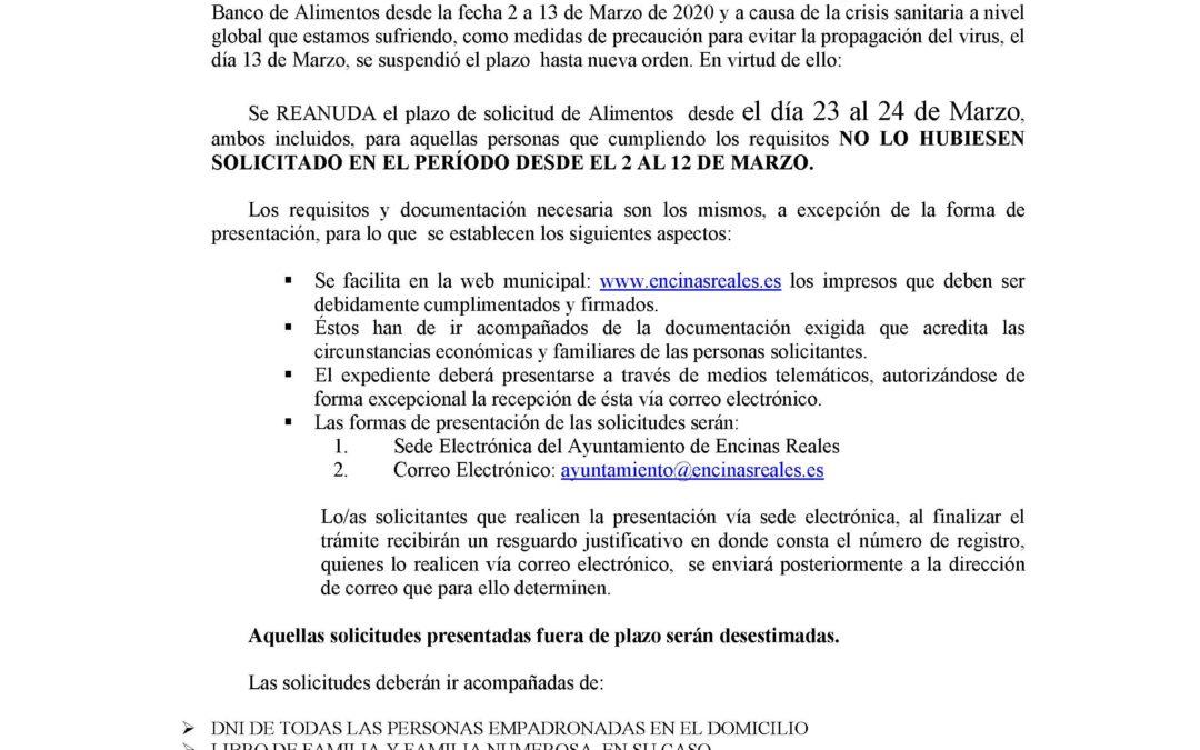 Bando: Banco de Alimentos Nuevo Plazo. 1