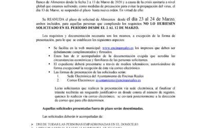 Bando: Banco de Alimentos Nuevo Plazo.