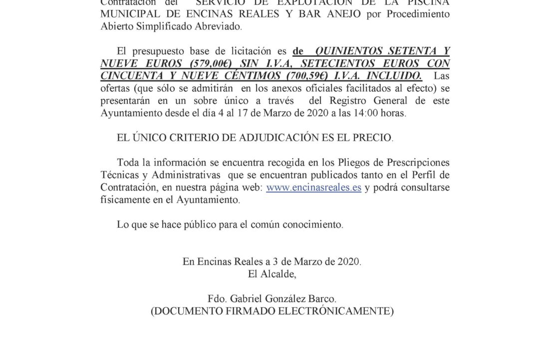 Licitación Servicio de Explotación Piscina Mpal y Bar Anejo. 1